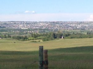 View of Calgary from Highway 1, as we head to the city from the West.